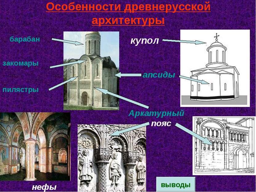 Особенности древнерусской архитектуры апсиды нефы Аркатурный пояс закомары пи...