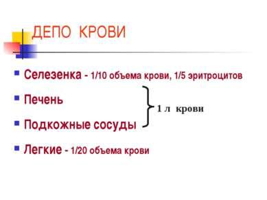 ДЕПО КРОВИ Селезенка - 1/10 объема крови, 1/5 эритроцитов Печень Подкожные со...