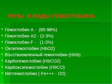 ТИПЫ И ВИДЫ ГЕМОГЛОБИНА Гемоглобин А - (95-98%) Гемоглобин А2 - (2-3%) Гемогл...