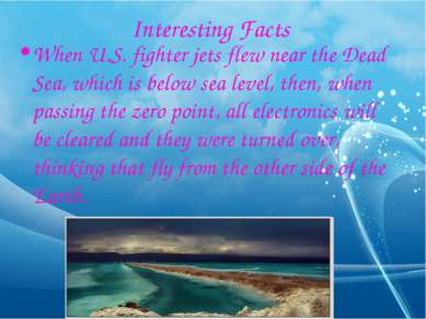 Interesting Facts When U.S. fighter jets flew near the Dead Sea, which is bel...