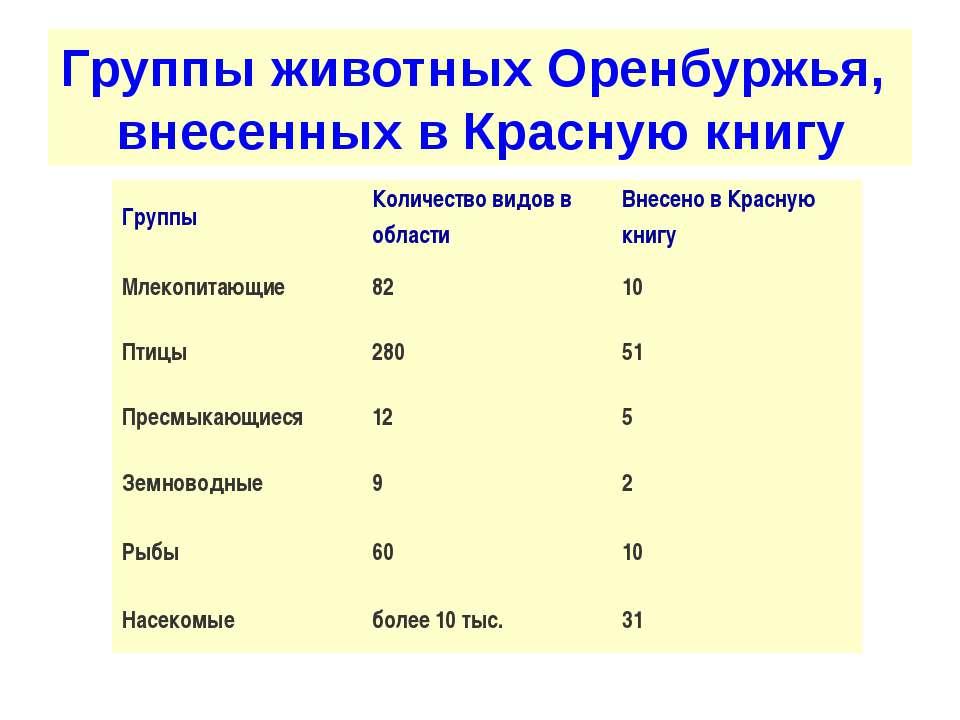 Группы животных Оренбуржья, внесенных в Красную книгу Группы Количество видов...