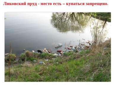 Ликовский пруд - место есть – купаться запрещено.