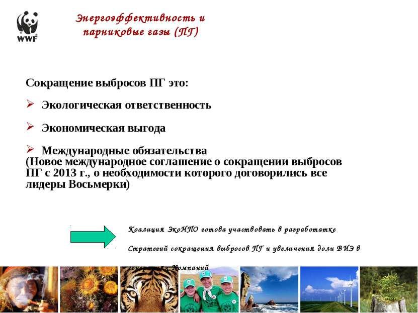 Энергоэффективность и парниковые газы (ПГ) Коалиция ЭкоНПО готова участвовать...
