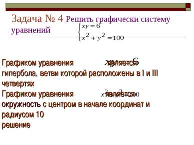 Задача № 4 Решить графически систему уравнений Графиком уравнения является ги...