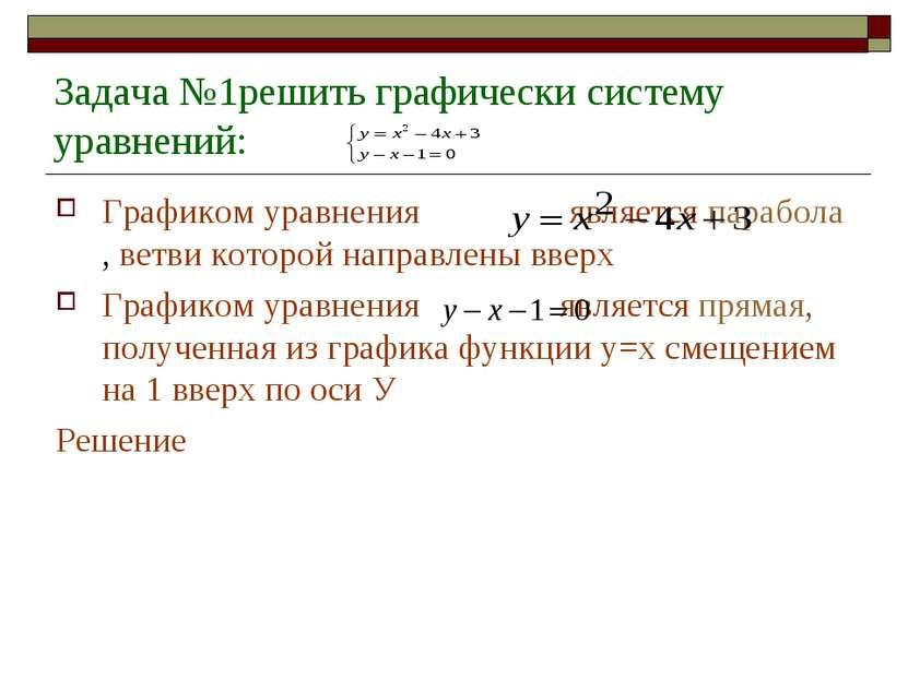 Задача №1решить графически систему уравнений: Графиком уравнения является пар...