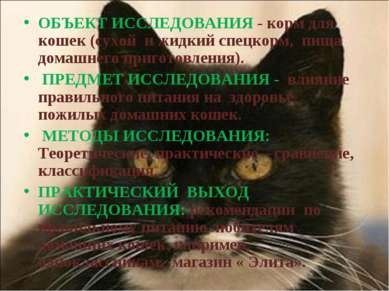ОБЪЕКТ ИССЛЕДОВАНИЯ - корм для кошек (сухой и жидкий спецкорм, пища домашнего...