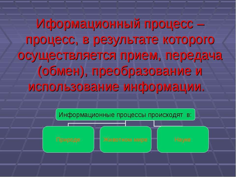 Иформационный процесс – процесс, в результате которого осуществляется прием, ...