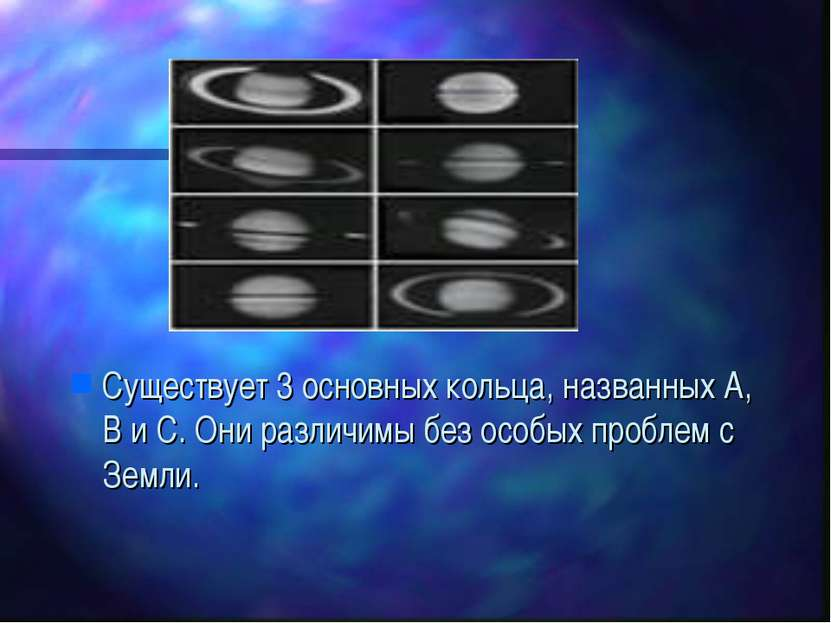 Существует 3 основных кольца, названных A, B и C. Они различимы без особых пр...