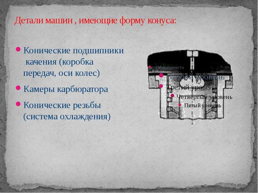 Детали машин , имеющие форму конуса: Конические подшипники качения (коробка п...