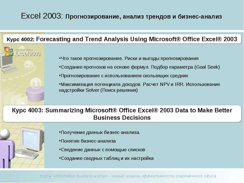 Excel 2003: Прогнозирование, анализ трендов и бизнес-анализ Что такое прогноз...