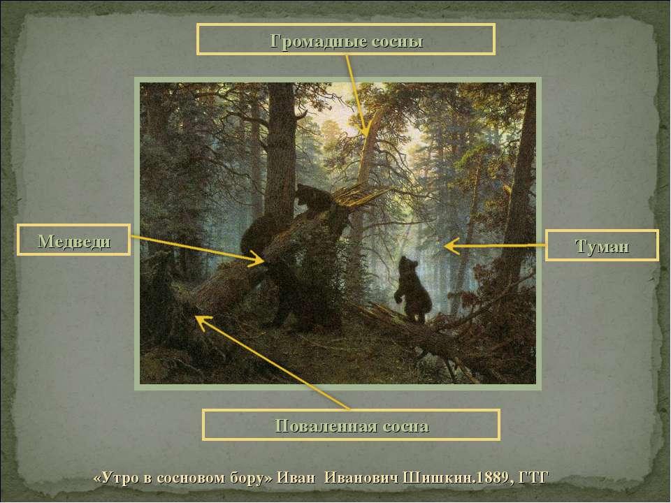 «Утро в сосновом бору» Иван Иванович Шишкин.1889, ГТГ Громадные сосны Повален...
