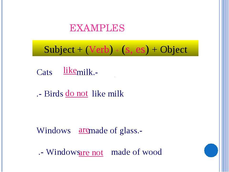 - Cats milk. - Birds like milk. - Windows made of glass. - Windows made of wo...