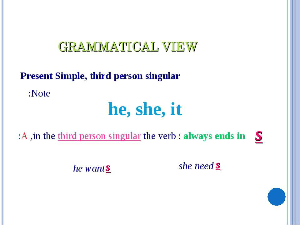 Present Simple, third person singular Note: he, she, it in the third person s...
