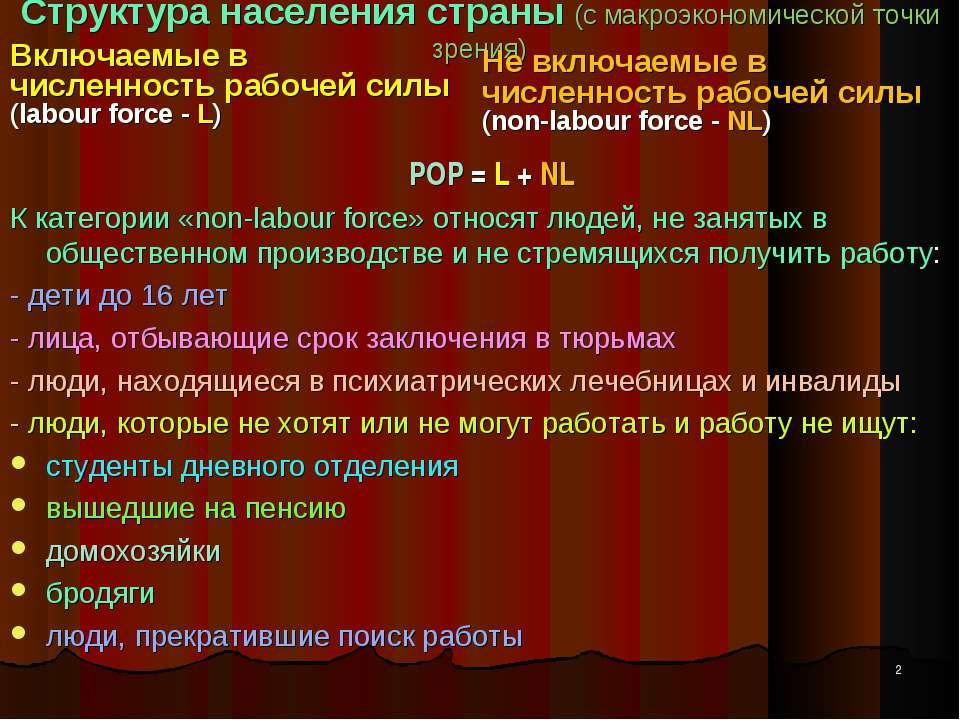 Структура населения страны (с макроэкономической точки зрения) Включаемые в ч...