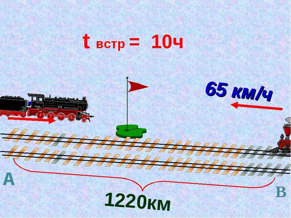 1220км t встр = 10ч ? 65 км/ч А В