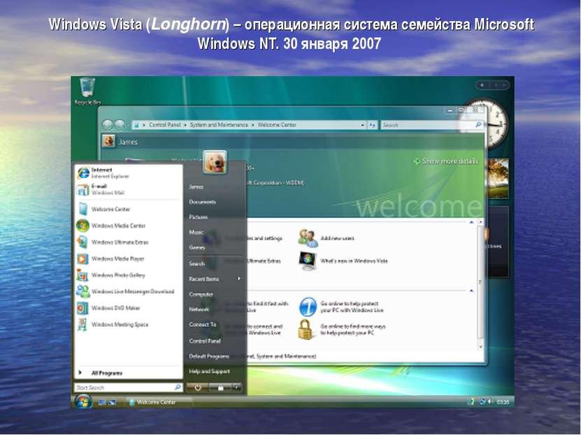 Windows Vista (Longhorn) – операционная система семейства Microsoft Windows N...