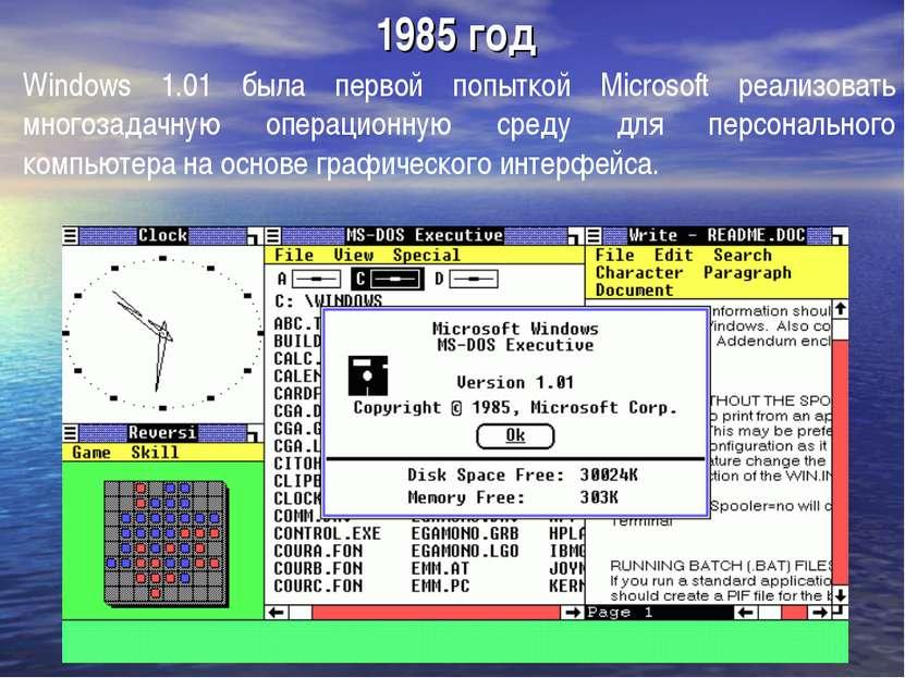 1985 год Windows 1.01 была первой попыткой Microsoft реализовать многозадачну...