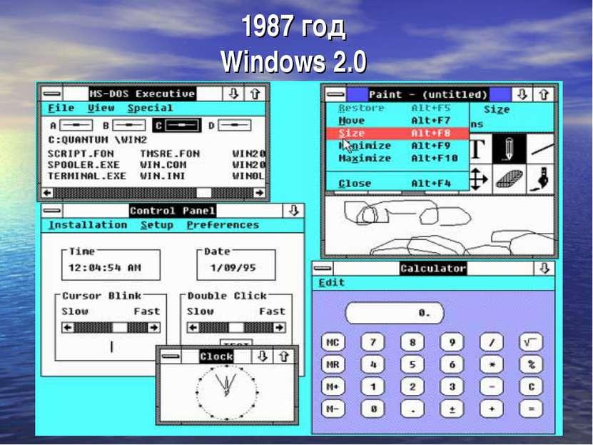 1987 год Windows 2.0