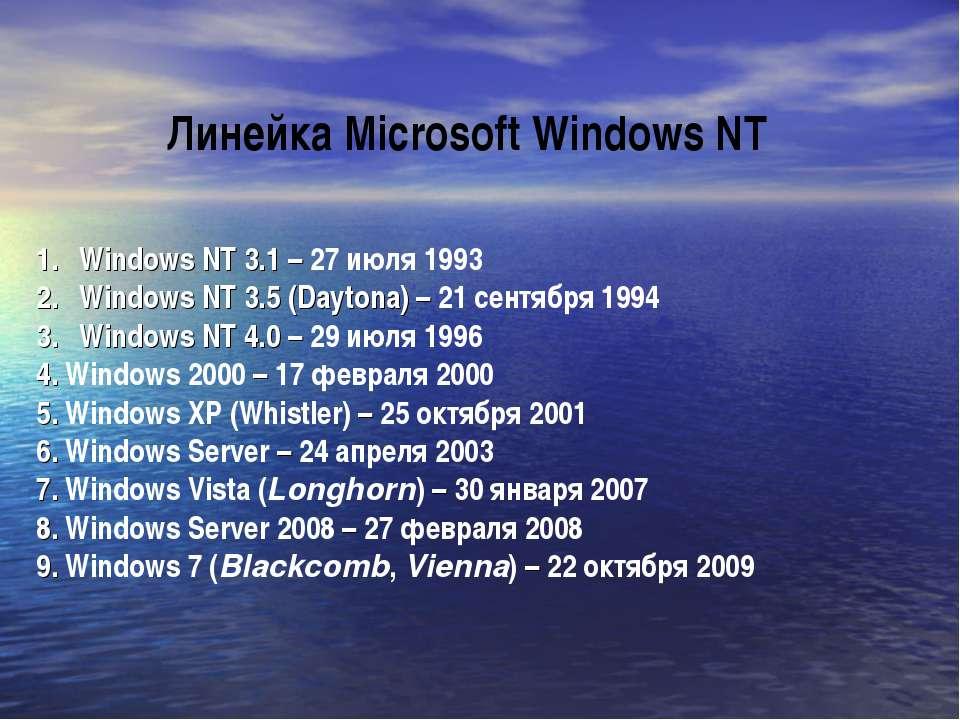 Windows NT 3.1 – 27 июля 1993 Windows NT 3.5 (Daytona) – 21 сентября 1994 Win...