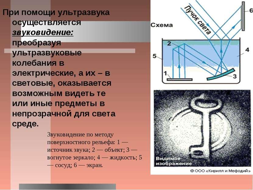 При помощи ультразвука осуществляется звуковидение: преобразуя ультразвуковые...