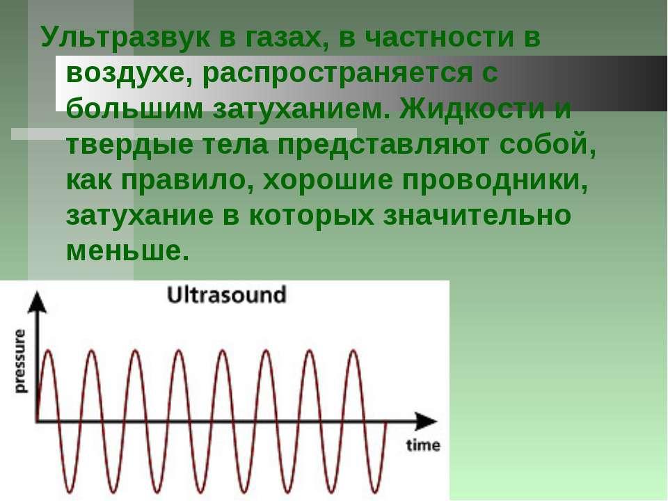 Ультразвук в газах, в частности в воздухе, распространяется с большим затухан...