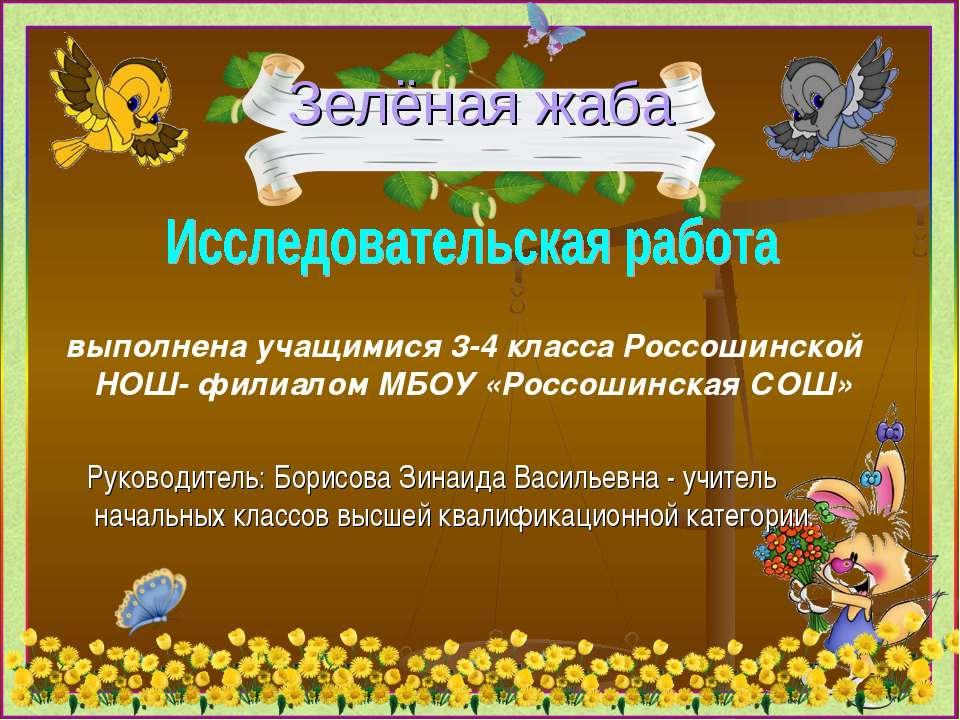 выполнена учащимися 3-4 класса Россошинской НОШ- филиалом МБОУ «Россошинская ...