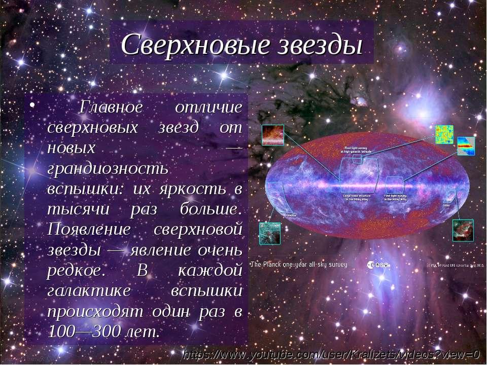 Сверхновые звезды Главное отличие сверхновых звезд от новых — грандиозность в...
