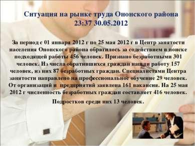Ситуация на рынке труда Ононского района 23:37 30.05.2012 За период с 01 янва...