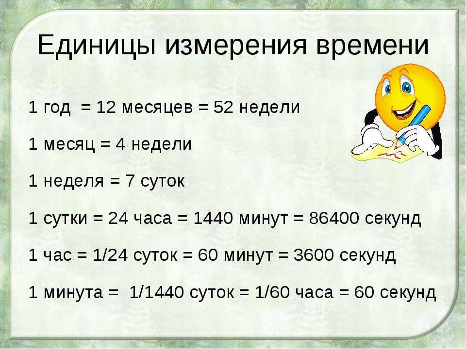 Единицы измерения времени 1 год = 12 месяцев = 52 недели 1 месяц = 4 недели 1...