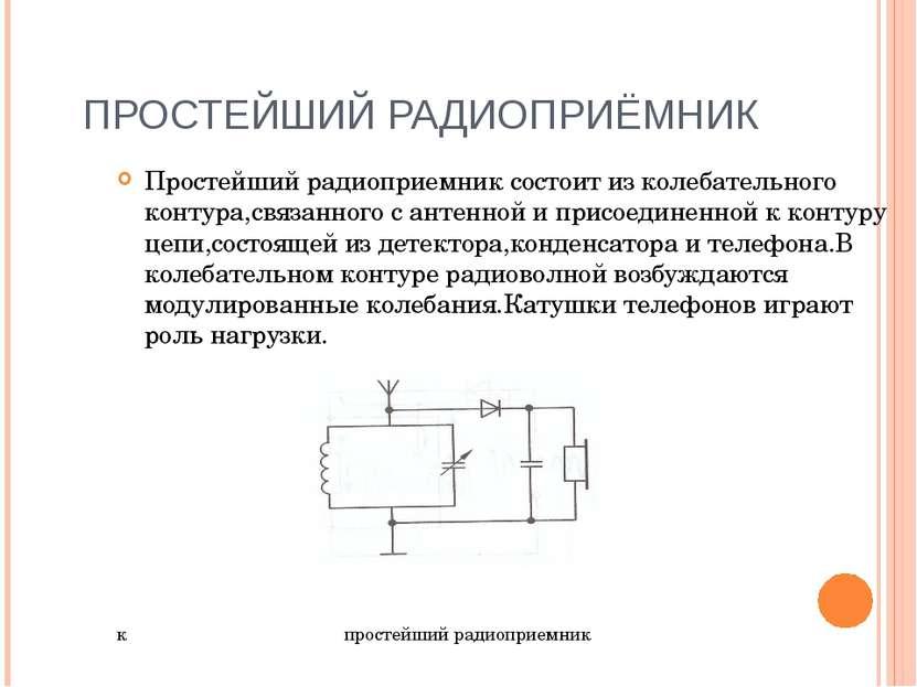 ПРОСТЕЙШИЙ РАДИОПРИЁМНИК Простейший радиоприемник состоит из колебательного к...