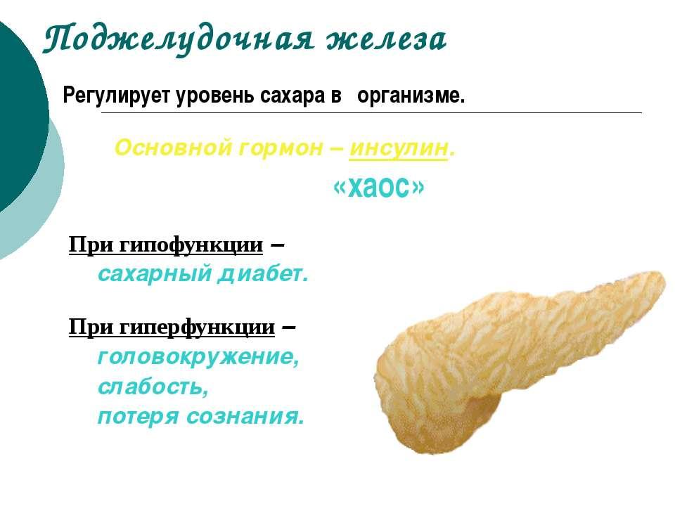 Поджелудочная железа Регулирует уровень сахара в организме. Основной гормон –...