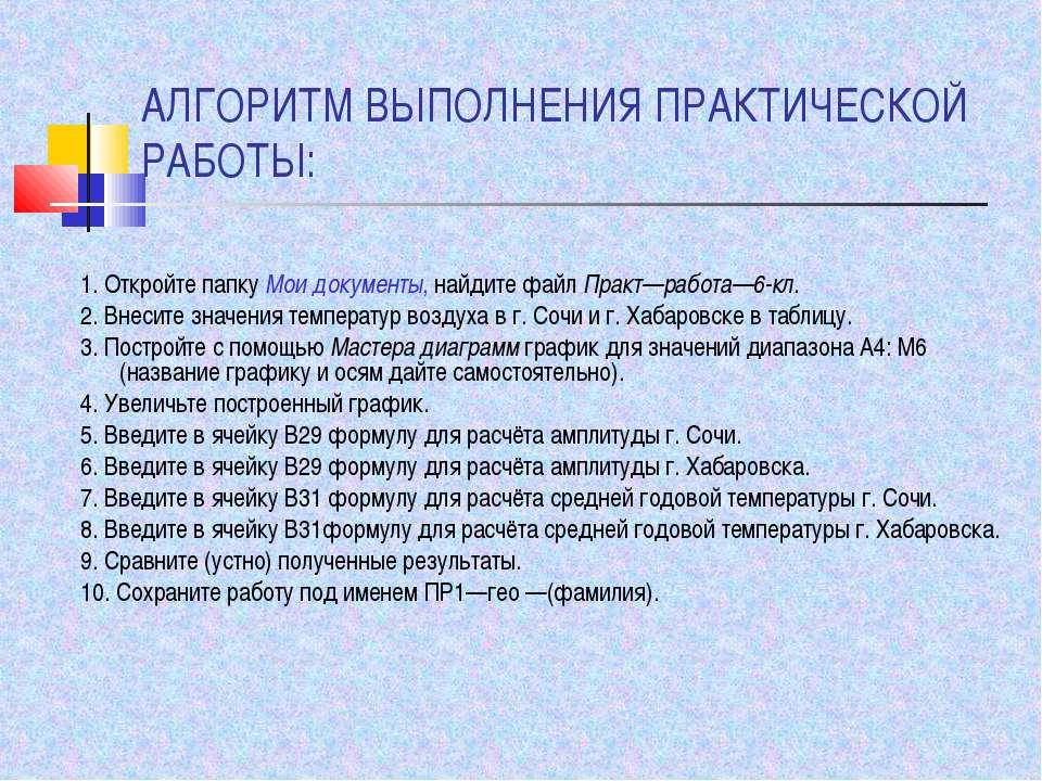 АЛГОРИТМ ВЫПОЛНЕНИЯ ПРАКТИЧЕСКОЙ РАБОТЫ: 1. Откройте папку Мои документы, най...