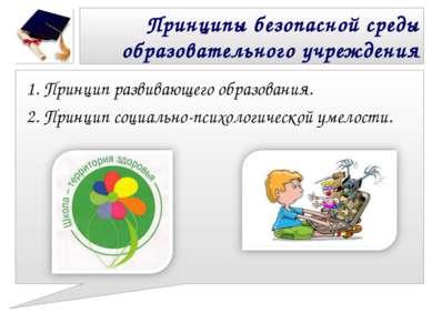 Принципы безопасной среды образовательного учреждения 1. Принцип развивающего...