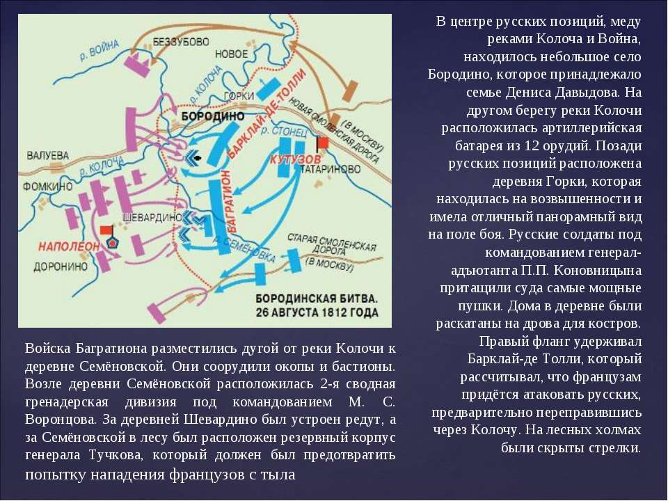 В центре русских позиций, меду реками Колоча и Война, находилось небольшое се...