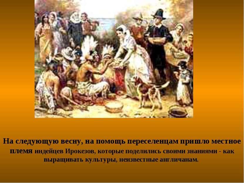 На следующую весну, на помощь переселенцам пришло местное племя индейцев Ирок...