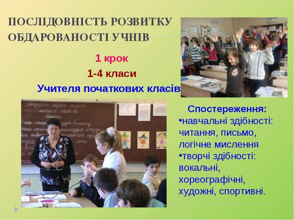 ПОСЛІДОВНІСТЬ РОЗВИТКУ ОБДАРОВАНОСТІ УЧНІВ 1 крок 1-4 класи Учителя початкови...