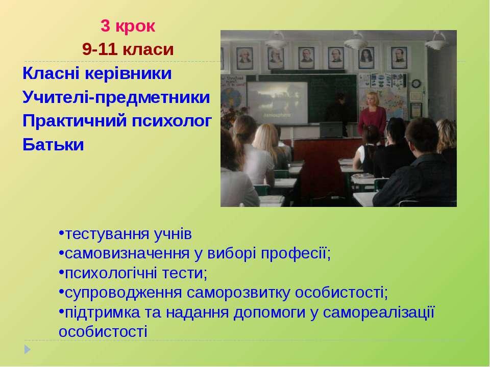 3 крок 9-11 класи Класні керівники Учителі-предметники Практичний психолог Ба...