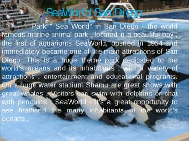 "SeaWorld San Diego Park "" Sea World"" in San Diego - the world famous marine a..."