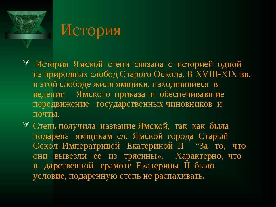 История История Ямской степи связана с историей одной из природных слобод Ста...
