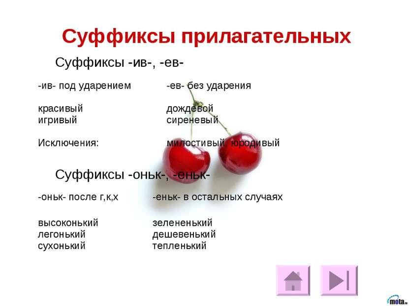 Суффиксы прилагательных Суффиксы -ив-, -ев-  Суффиксы -оньк-, -еньк-  -ив- ...