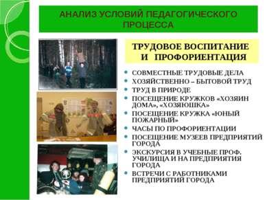 АНАЛИЗ УСЛОВИЙ ПЕДАГОГИЧЕСКОГО ПРОЦЕССА СОВМЕСТНЫЕ ТРУДОВЫЕ ДЕЛА ХОЗЯЙСТВЕННО...