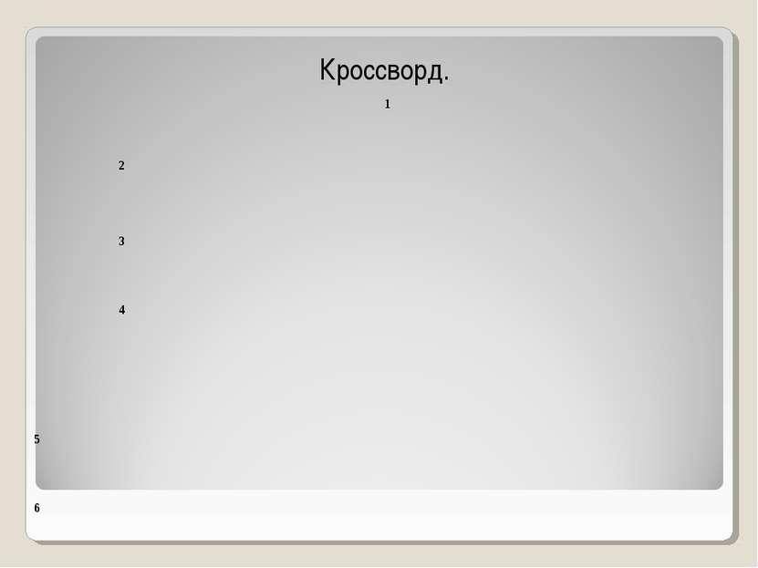 Кроссворд. 1 2 3 4 5 6