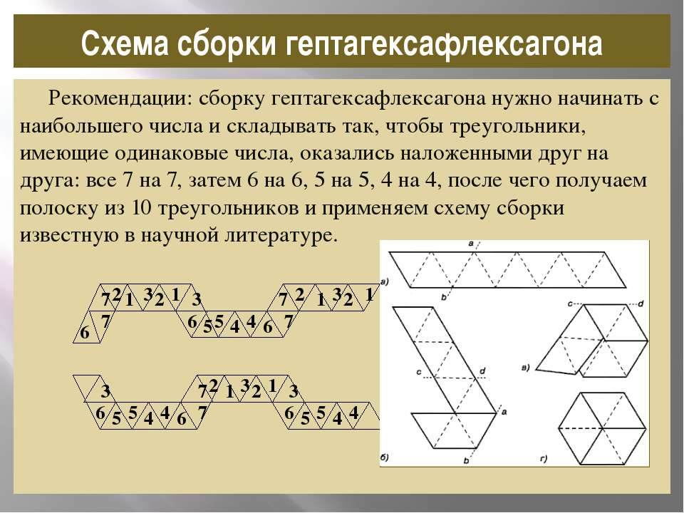 Рекомендации: сборку гептагексафлексагона нужно начинать с наибольшего числа ...