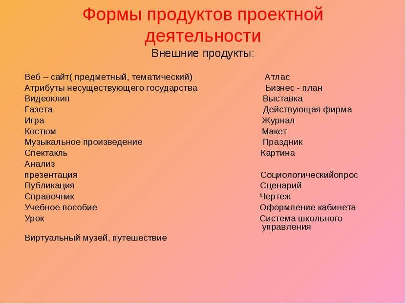 Формы продуктов проектной деятельности Внешние продукты: Веб – сайт( предметн...