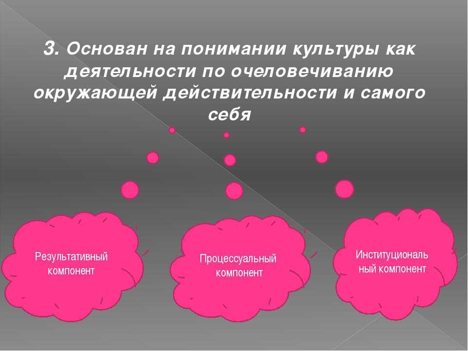 3. Основан на понимании культуры как деятельности по очеловечиванию окружающе...