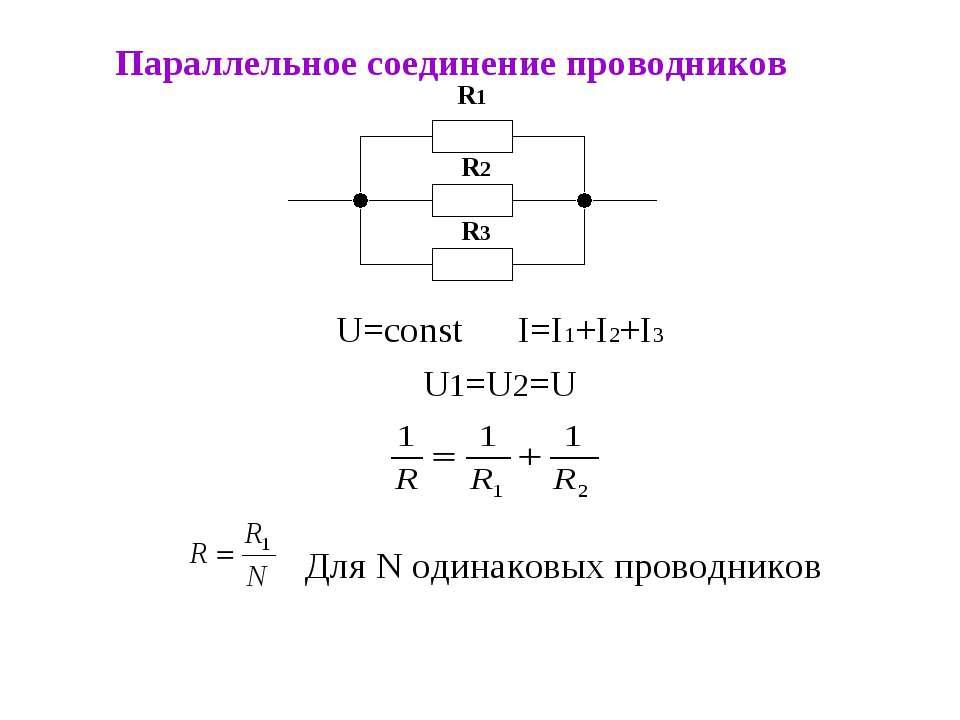 Параллельное соединение проводников U=const I=I1+I2+I3 U1=U2=U R1 R2 R3 Для N...