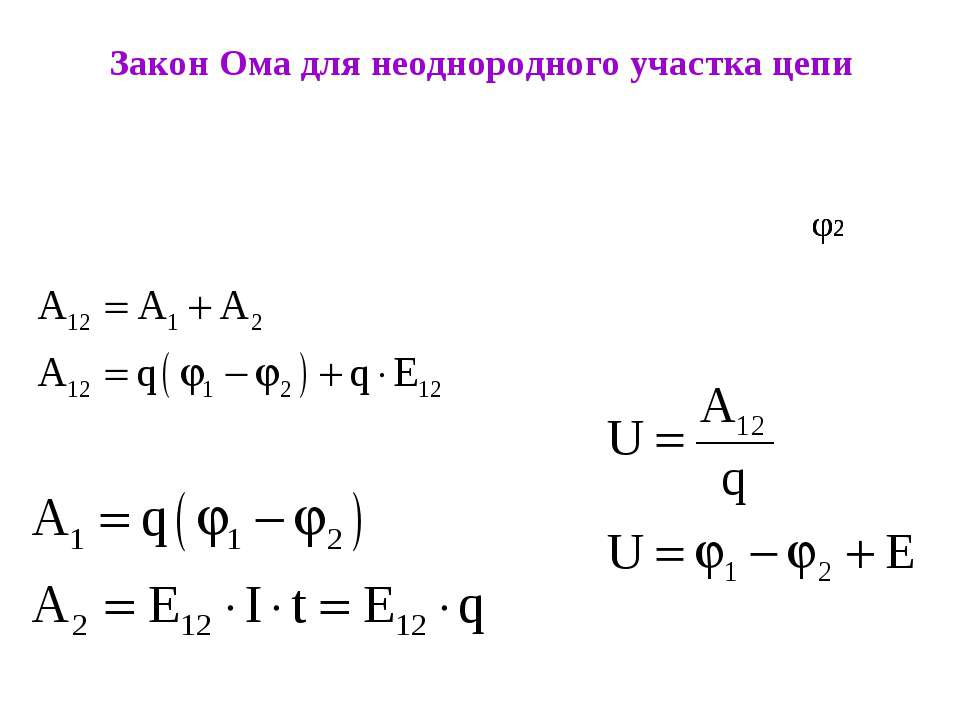 Закон Ома для неоднородного участка цепи