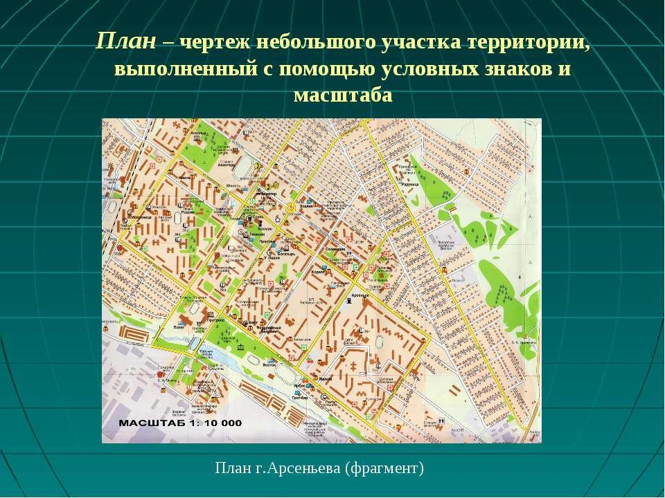 План – чертеж небольшого участка территории, выполненный с помощью условных з...