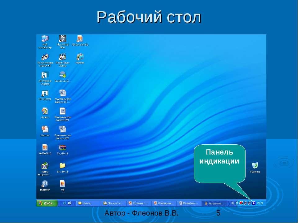 Рабочий стол Панель индикации