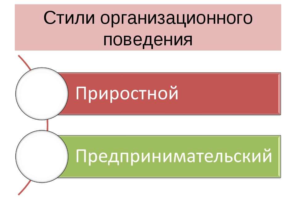 Стили организационного поведения
